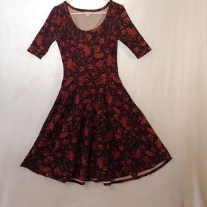 Size small LuLaRoe dress full skirt orange brown
